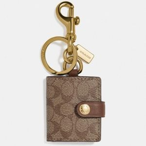 NWOT Coach picture frame keychain in khaki